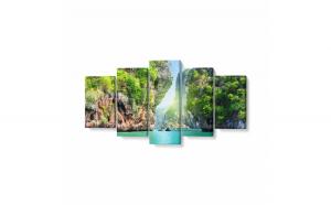 Tablou MultiCanvas 5 piese, Thailand Island, 100 x 50 cm, 100% Bumbac