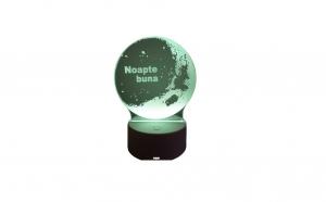 Lampa de veghe 3D LED, Noapte buna, 7 culori, lumina ambientala, alimentare USB cu incarcator priza si/sau 3 baterii AA