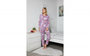 Pijama dama din Bumbac cu nasturi si