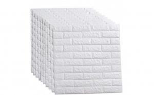Set 10x Placa de tapet adeziv caramizi albe 3D, 77x70 cm