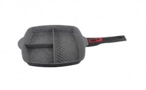 Tigaie 3 in 1 acoperire din marmura, 28 cm, aluminiu 100%, maner detasabil, negru