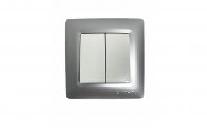 Intrerupator dublu Ruichnl RC-1106, rama argintie