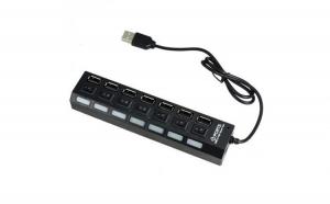 Hub USB 2.0 cu 7 porturi, intrerupator ptr. fiecare port, Led Albastru, HI-SPEED, la 33 RON in loc de 66 RON