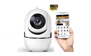 Set Camera de supraveghere IP WIFI  Full HD 2MP, Night vision, Conectare telefon / PC, Rotire automata, rezolutie 1920/1080 pixeli, senzor miscare, alb + Card MicroSD 32GB