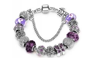 Bratara din argint cu cristale colorate MOV si TURCOAZ pentru adolescente la numai 85 RON in loc de 220 RON. Exprima-ti stilul!