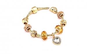 Bratara Pandy Gold Sweet Heart & Crystals cu Au 18K