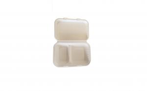 Caserole biodegradabile din trestie de zahar, 2 compartimente, 1000 ml, set 50 buc