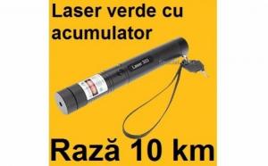 Laser puternic verde 3D cu acumulator, raza de actiune de 10km, proiectii si zoom