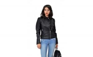 Geaca dama neagra din piele eco Motomax - captusala la doar 149 RON