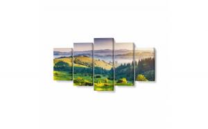 Tablou MultiCanvas 5 piese, Tree Mountain, 200 x 100 cm, 100% Poliester