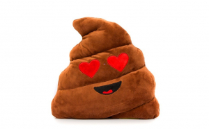 Jucarie Plus Stil Poop Indragostit Emoji, Maro XXL 50 CM, Happy Face