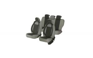 Huse scaune auto DACIA LOGAN 2004-2010  dAL Racing  Gri,Piele ecologica + Textil