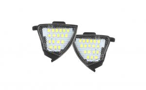 Set 2 lampi LED sub oglinda (puddle lights), 6500k alb-rece, VW Passat B6, B5.5, Golf 5, Golf 6, Jetta, Eos, lumini oglinzi
