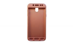 Husa Samsung Galaxy J3 2016 Flippy Full Cover 360 Roz Auriu + Folie de protectie