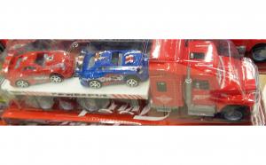 Camion cu remorca si 2 masini
