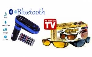 Kit Auto Bluetooth HandsFree Modulator FM, USB + Set 2 perechi ochelari zi si noapte HD Vision, la numai 69 RON redus de la 149 RON