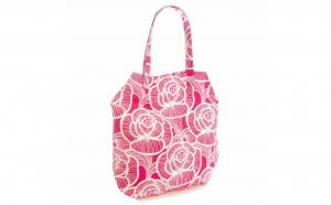Geanta pentru plaja, cu flori, alb-roz