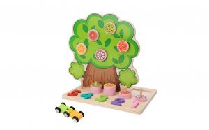 Jucarie Montessori 4 in 1 Copacul cu fructe, lemn bine finisat, lacuri ecologice