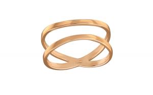 Inel argint placat cu aur roz 14K,  Incrucisat, Marimea 57, A4S39506