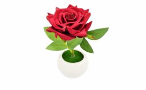 Trandafiri artificiali in suport ceramic, 19 cm, disponibil in 4 culori