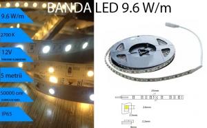Banda LED 9,6W/m, Lumina CALDA 2700K, pentru exterior IP65, la doar 50 RON in loc de 100 RON