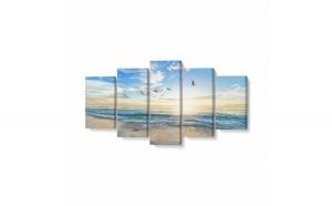 Tablou MultiCanvas 5 piese, Păsări Care Zboară Peste Mare, 200 x 100 cm, 100% Poliester