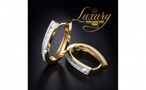 Cercei Sarra Luxury Zirconia Cristal Gold Plated