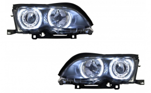 Set 2 faruri LED Angel Eyes compatibil cu BMW Seria 3 E46 (09.2001 - 03.2005), negru
