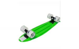 Penny board 55 cm, roti din silicon cu LED multicolor, verde