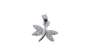Pandantiv Argint 925 Libelula cu Pietre + Snur Martisor