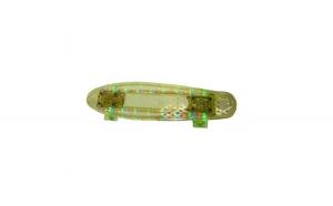 Penny board transparent cu lumini led (mov, verde)