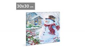 FAMILY POUND - Tablou de Craciun, cu LED - cu agatatoare de perete, 2 x AA, 30 x 30 cm GLZ-58016A