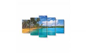 Tablou MultiCanvas 5 piese, Zanzibar Beach, 200 x 100 cm, 100% Poliester