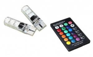 Set 2 becuri LED auto RGB, cu telecomanda