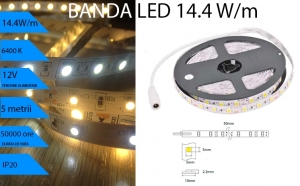 Banda LED 14.4W/m, Lumina RECE 6400K, pentru interior IP20, la doar 55 RON in loc de 110 RON