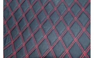 Material special pentru covorase auto romb negru / cusatura rosie.  Cod:COV02NR