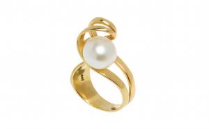 Inel din aur galben 14K cu perla