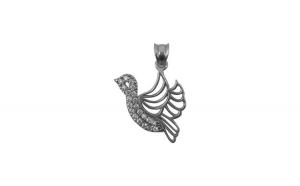 Pandantiv Argint 925 Paun cu Zirconii + Snur Martisor