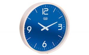 Ceas de perete cu quartz OM 3311 L, 25cm, carcasa lemn, albastru, Trevi