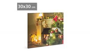 FAMILY POUND - Tablou de Craciun, cu LED - cu agatatoare de perete, 2 x AA, 30 x 30 cm GLZ-58016D