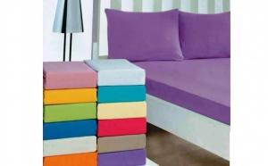 Set 2 huse de pat elasticizate si 4 fete de perna