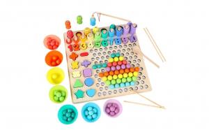 Joc Montessori 5 in 1 Pescuit Magnetic, Memorie si Indemanare, Matematica, lemn bine finisat si lacuri ecologice