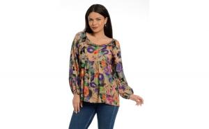 Bluza Dama Platca Multicolora cu Maneca
