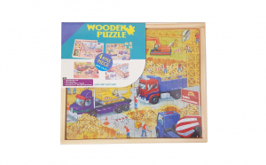 Puzzle 4 in 1 in cutie din lemn, 220 piese, vehicule de santier, WD9008-C