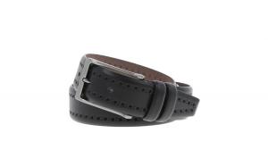 Curea neagra cu perforatii decorative din piele, pentru pantaloni casual, model 1087