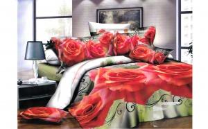 Lenjerie 3D cu Trandafiri rosii