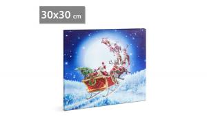 FAMILY POUND - Tablou de Craciun, cu LED - cu agatatoare de perete, 2 x AA, 30 x 30 cm GLZ-58016B