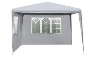 Pavilion metalic 3x3x2,5 acoperis polietilenic gri 100 gmp cu 2 pereti laterali, Gri