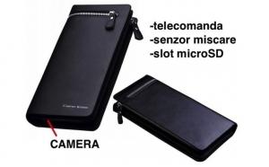 Portofel cu camera video spion HD si telecomanda