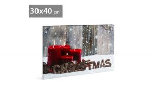 FAMILY POUND - Tablou de Craciun, cu LED - cu agatatoare de perete, 2 x AA, 30 x 40 cm GLZ-58017G